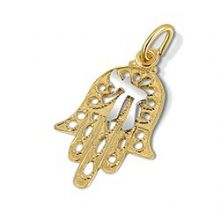 14K Gold Filigree Hamsa Pendant with Chai