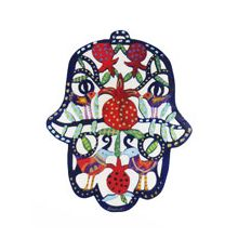 Wooden Cutout Hamsa Wall Decor - Pomegranate