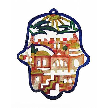 Wooden Cutout Hamsa Wall Decor - Jerusalem