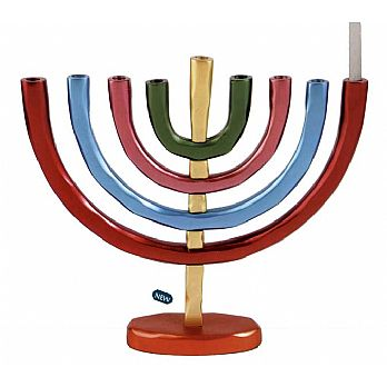Anodize Aluminum Menorah by Emanuel - Multi Color