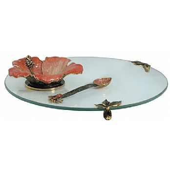 Hibiscus Honey Server Set with Glass Tray