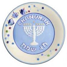 Ceramic Set of 4 Hanukkah Snack Plates