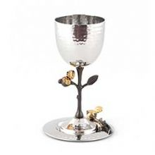 Kiddush Goblet w Tray Pomegranate Black and Gold