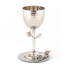 Kiddush Goblet w Tray Pomegranate Silver and Gold