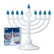Electric Powered Menorah - White Plastic