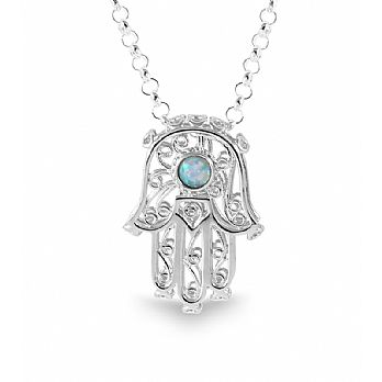 Large Ornate 3D Sterling Silver Hamsa Pendant with Opal