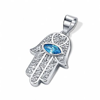 Sterling Silver Hamsa with Sapphire Evil Eye Stone