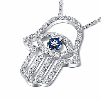 Sterling Silver Hamsa Necklace with Clear CZ's