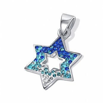 Sterling Silver Star  David Pendant - Blue Tones Mini Stones