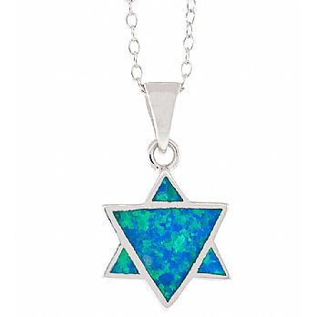 Sterling Silver Star of David Pendant with Opal Stone