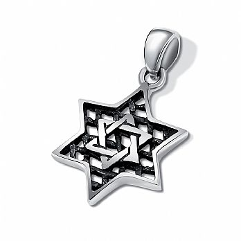 Sterling Silver Star of David Pendant - Layered Mesh