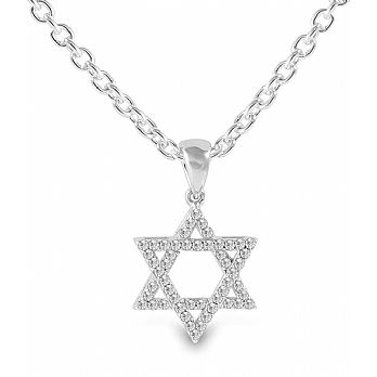 Sterling Silver Star of David Pendant - Clear CZ's