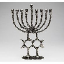 Pewter Art Menorah - Double Star