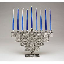 Pewter Art Menorah - Star Tiles