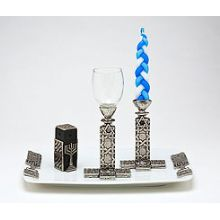 Porcelain & Pewter Havdallah Set - Judaic Tiles