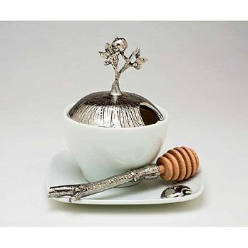 Porcelain & Pewter Honey Dish Set - Pomegranate