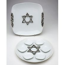 Quality Seder and Matzah Plates - Weave Design