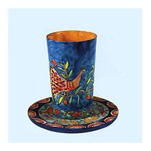 Wood Carved Kiddush Cup & Saucer -Oriental NS