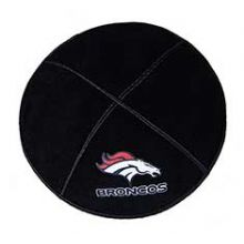 Denver Broncos Football Kippah - Genuine Black Suede