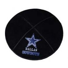 Dallas Cowboys Football Kippah - Genuine Black Suede