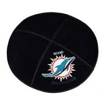 Miami Dolphins Football Kippah - Genuine Black Suede
