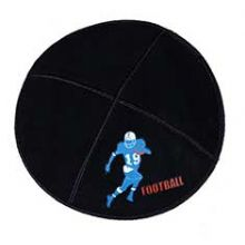 Football Kippah - Genuine Black Suede