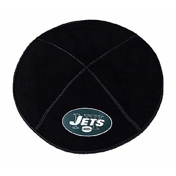 NY Jets Football Kippah - Genuine Black Suede
