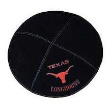 Texas Longhorn Sports Kippah - Genuine Black Suede