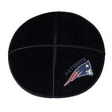 New England Patriots Football Sports Kippah - Genuine Black Suede