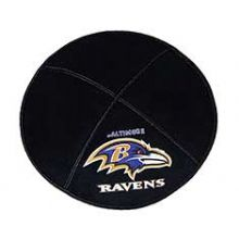 Baltimore Ravens Football Kippah - Genuine Black Suede