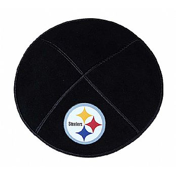 Pittsburgh Steelers Kippah - Genuine Black Suede