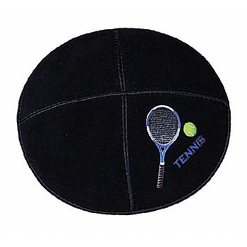Tennis Sports Kippah - Genuine Black Suede