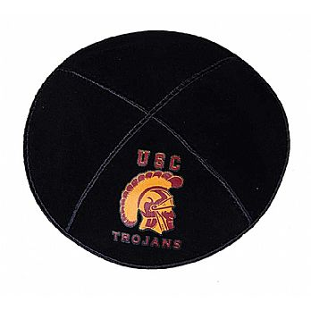 USC Trojans Football Kippah - Genuine Black Suede