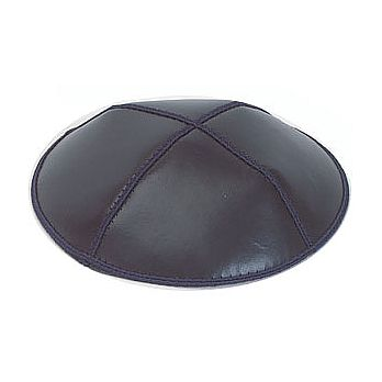 Genuine Leather Kippot - Navy Blue