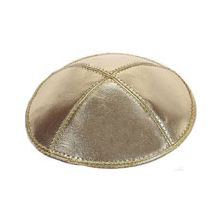 Leather Kippot - Gold Lame