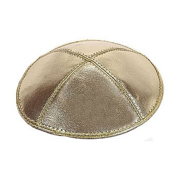 Genuine Leather Gold Lame Kippah