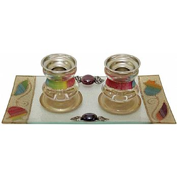 Glass Candle Stick With Tray Small Applique - Rainbow