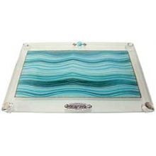 Challah Tray On Legs Applique - Ocean Blue