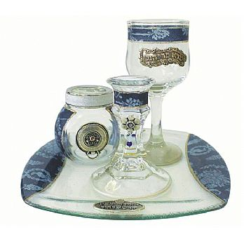 Decorated Glass Havdallah Set