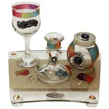 Havdalah Set With Tray Applique - Rainbow