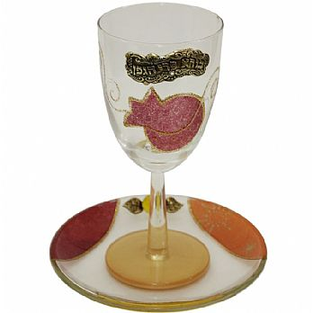 Glass Kiddush Cup with Plate  Applique - Red - Lilly Art