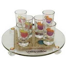 Liquor Set with 6 Glasses And Round Tray Pomegranate  - Rainbow