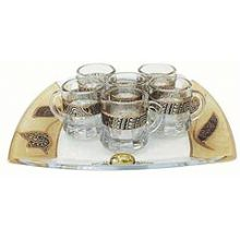 Decorated Glass L'Chaim set with 6 Glasses