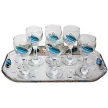 Liquor Set with 6 Glasses And Tray Applique - Ocean Blue With Tulip