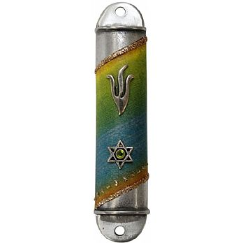 Pewter Mezuzah Case - Rainbow