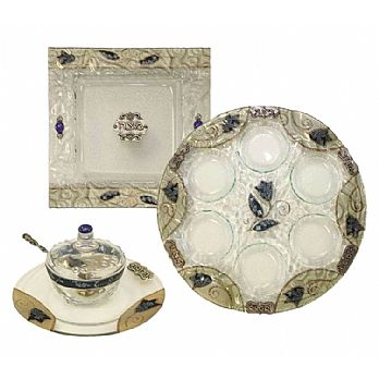 Glass Passover Seder Set - Blue Tulip
