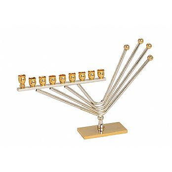 Gold and Silver Plated Modern Menorah