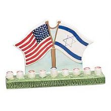 American and Israeli Flags  Menorah