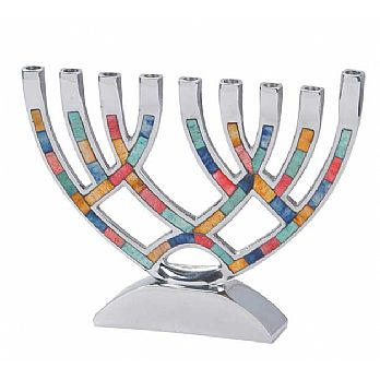 Classic Aluminum Menorah With Colored Inlay