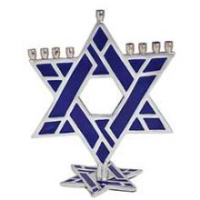 Aluminum Star of David Menorah with Blue Enamel